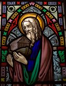 pic of noah  - detail of victorian stained glass church window in Fringford depicting Noah with the ark - JPG