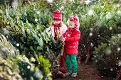 Kids Select Christmas Tree. Family Buying Xmas Tree. poster