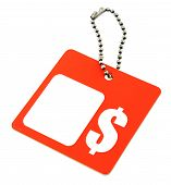 pic of por  - tag with dollar symbol and copy space por price background is pure white - JPG