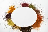 Circle Frame Composition Of Spices And Herbs Isolated On White poster