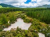 Aerial View Of Hot Mud Pool, Rotorua, New Zealand poster
