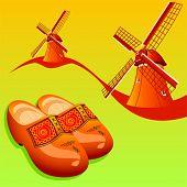 Постер, плакат: Голландский деревянные башмаки klompen и ветряные мельницы