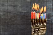 Brightly Glowing Hanukkah Menorah - Shallow Depth Of Field poster