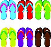 Six pairs of colorful flip flops