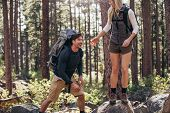 Hiking Couple Walking On Rocks In Forest Wearing Backpacks poster