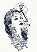 Art Nouveau Woman Tattoo And T-shirt Design. Symbol Of A Retro, Queen, Princess, Lady, Elegance, Gla poster