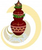 stock photo of haldi  - Divine Mangal Kalash with coconut - JPG