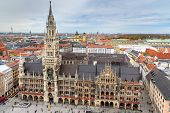 Aerial Cityscape Of Munich Historical Center With New Town Hall, Town Hall On Marienplatz. Munich. G poster