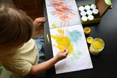 Boy, Drawing A Picture For Fathers Day. Portrait Of Cute Little Boy Drawing With Brush. poster