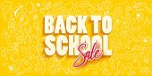 Back To School Sale Banner Template With Different School Objects. School Sale Doodle Hand Drawn Ico poster