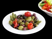 stock photo of crudites  - Dish of olives and pickles - JPG