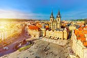Buildings On The Old Town Square Staromestska Namesti With Tyn Church In Prague, Czech Republic Duri poster