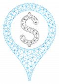 Mesh Bank Map Pointer Model Icon. Wire Frame Polygonal Mesh Of Vector Bank Map Pointer Isolated On A poster