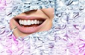 Conceptual background makes of set of laughing human faces with great teeth and detail of young woma poster