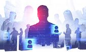 Silhouettes Of Business People Over Abstract City Background With Double Exposure Of Social Media Ic poster