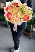 Bright Colorful Bouquet With Peonies. Beautiful Bouquet Of Mixed Flowers In Woman Hand. Floral Shop  poster