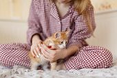 Young Girl In Pajamas Hug Small Fluffy Ginger Kitten With Blue Eyes In Cozy Home. Playful Kitty Want poster