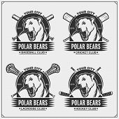 Cricket, Baseball, Lacrosse And Hockey Logos And Labels. Sport Club Emblems With Polar Bear. Print D poster