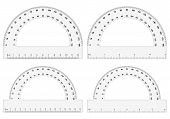 pic of protractor  - Four protractor on white background - JPG