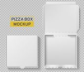 Pizza Box. Open And Closed Pizza Pack, Top View Paper White Carton Mockup, Meal Delivery, Fast Food  poster