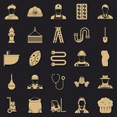 Different Professions Icons Set. Simple Set Of 25 Different Professions Vector Icons For Web For Any poster