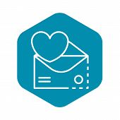 Email Heart Inbox Icon. Outline Email Heart Inbox Vector Icon For Web Design Isolated On White Backg poster