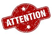 Attention Vintage Stamp. Attention Sign On White Background poster