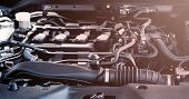 Car Engine Service Concept - Close Up New Car Engine Room On Checking Engine Maintenance Service In  poster