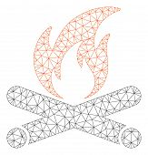 Mesh Campfire Polygonal Icon Vector Illustration. Carcass Model Is Based On Campfire Flat Icon. Tria poster