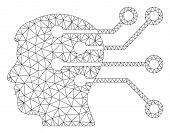 Mesh Brain Interface Circuit Polygonal Icon Vector Illustration. Carcass Model Is Based On Brain Int poster