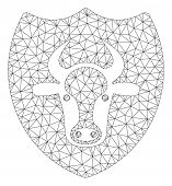 Mesh Bull Shield Polygonal Symbol Vector Illustration. Model Is Based On Bull Shield Flat Icon. Tria poster