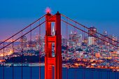 picture of golden gate bridge  - Golden Gate Bridge and downtown San Francisco - JPG