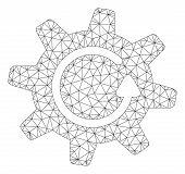 Mesh Cogwheel Rotation Direction Polygonal Icon Vector Illustration. Model Is Based On Cogwheel Rota poster