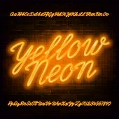 Yellow Neon Script Alphabet Font. Neon Color Lowercase And Uppercase Bright Letters And Numbers. Sto poster