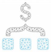 Mesh Collect Money Polygonal Icon Vector Illustration. Carcass Model Is Based On Collect Money Flat  poster