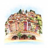 Watercolor Sketch Of Colorful Old Town And Beach In Sunny Menton, Perle De La France, On French Rivi poster