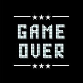 Retro Pixel Game Over Sign With Stars On Black Background. Gaming Concept. Video Game Screen. poster