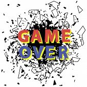 Retro Game Over Sign With Explosion On White Background. Gaming Concept. Video Game Screen. poster