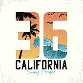 California Slogan For Surfing T-shirt Typography With Waves And Palm Trees. Surf Number Tee Shirt Wi poster