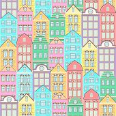 Colorful Houses Seamless Pattern, City Background, Urban Landscape. Multicolored Bright European Bri poster