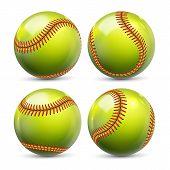 Yellow Softball Equipment Of Baseball Set Vector. Glossy Element Of Team Playing Game Softball. Diff poster