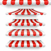 Vector Outdoor Awnings. Red And White Stripes Sunshades Isolated On White Background. Set Of Awning  poster