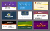 Visit Cards. Business Corporate Identity Elegant Cards Template Company Id Colored Vector Design Tem poster