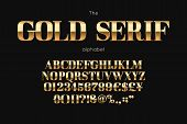 Gold Serif Font And Alphabet. Vintage Abc, English Letters And Numbers poster