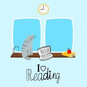 Reading Vector Concept With Cute Cat And Books. Cat Read Book, Reading On Sill Illustration poster