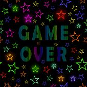Retro Game Over Neon Sign On Starry Black Background. Gaming Concept. Video Game Screen. poster