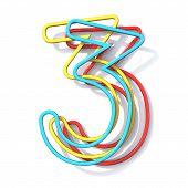 Three Basic Color Wire Font Number 3 Three 3d Rendering Illustration Isolated On White Background poster