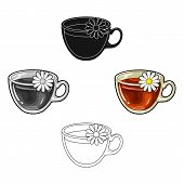 Glass Mug With Tea Useful.vegetarian Therapeutic Chamomile Tea.vegetarian Dishes Single Icon In Cart poster