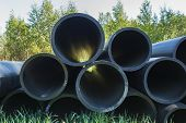 Hdpe Pipe For Water Supply At Construction Site Construction Of A Water Supply System Plastic Pipes poster