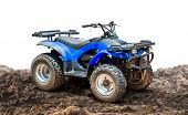 Atv Quad Bike, All-terrain Vehicle, On The Ground Isolated On White Background With Clipping Path poster